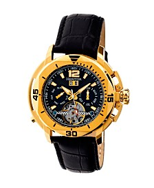 Heritor Automatic Lennon Gold & Black Leather Watches 45mm