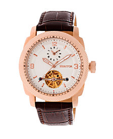 Heritor Automatic Helmsley Rose Gold & White Leather Watches 45mm