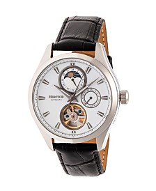 Heritor Automatic Sebastian Silver Leather Watches 40mm