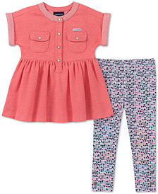Calvin Klein Little Girls 2-Pc. Peplum Tunic & Printed Leggings Set