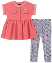 515d14b7fb68 Calvin Klein Toddler Girls 2-Pc. Peplum Tunic & Printed Leggings Set