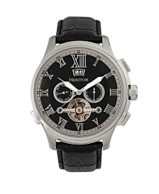 Heritor Automatic Hudson Silver & Black & Black Leather Watches 47mm