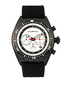 Morphic M53 Series, Black Case, Chronograph Fiber Weaved Silver Leather Band Watch w/Date, 45mm