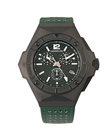 Morphic M55 Series Chronograph Leather-Band Watch w/Date - Black/Green
