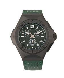 Morphic M55 Series, Black Case, Green Chronograph Leather Band Watch w/Date