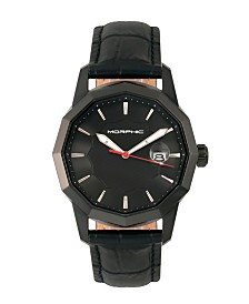 Morphic M56 Series, Black Case, Black Leather Band Watch w/Date, 42mm