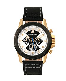 M57 Series, Gold Case, Black Chronograph Leather Band Watch, 43mm
