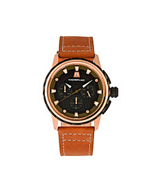 Morphic M61 Series, Rose Gold Case, Tan Leather Chronograph Band Watch w/Date, 45mm