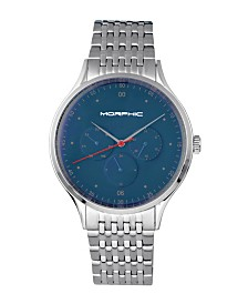 Morphic M65 Series, Blue Face, Silver Bracelet Watch w/Day/Date, 42mm