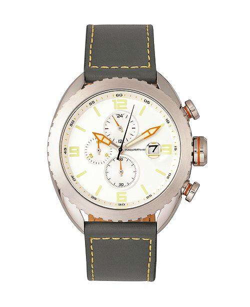 Morphic M64 Series, Silver Case, Chronograph Grey Leather Band Watch w/ Date, 48mm