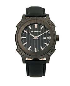 M68 Series, Black Case, Black Leather Band Watch w/Date, 44mm