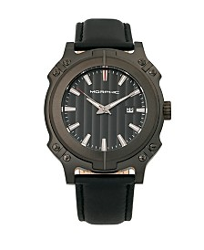 Morphic M68 Series, Black Case, Black Leather Band Watch w/Date, 44mm