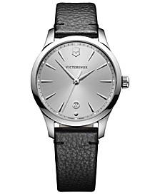 Women's Swiss Alliance Small Black Leather Strap Watch 35mm