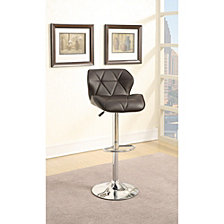 Barstool With Gaslight In Tufted Leather, Dark Brown, Set Of 2