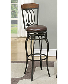 Swivel Bar Stools with Padded Seat and Wooden Top, Set Of 2