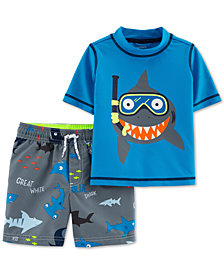 Carter's Toddler Boys 2-Pc. Shark-Print Rash Guard & Swim Trunks Set