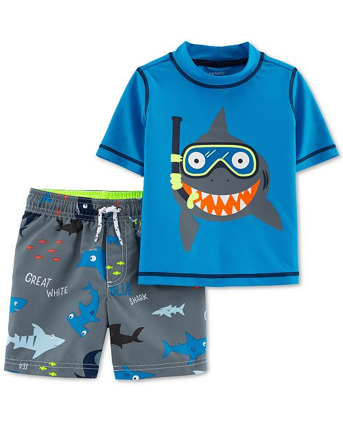 b3b13eef17878 Carter's Toddler Boys 2-Pc. Shark-Print Rash Guard & Swim Trunks Set ...