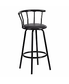 Clickhere2shop Crown Back Transitional Style Metal Bar Stool with Vinyl Swivel Seat