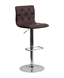 Offex Contemporary Tufted Vinyl Adjustable Height Bar Stool with Chrome Base