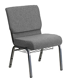 """21"""" Extra Wide Church Chair with 3.75"""" Thick Seat and Book Rack Vein Frame"""