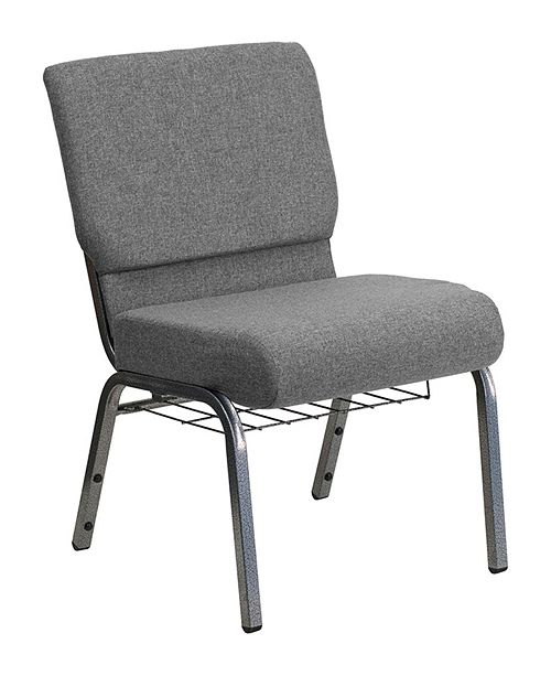 "Clickhere2shop 21"" Extra Wide Church Chair with 3.75"" Thick Seat and Book Rack Vein Frame"