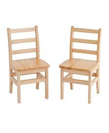 """Offex Preschool Classroom Kids 16"""" Three Rung Ladderback Chair AssortedM - 2 Pack"""