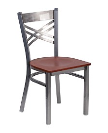 """Offex Clear Coated """"X"""" Back Metal Restaurant Chair - Cherry Wood Seat"""