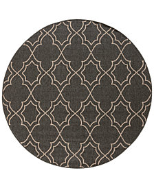 "Surya Alfresco ALF-9590 Black 7'3"" Round Area Rug"