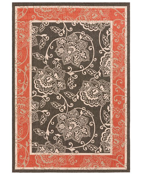 "Surya Alfresco ALF-9592 Black/Rust 7'6"" x 10'9"" Area Rug, Indoor/Outdoor"