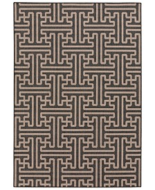 "Surya Alfresco ALF-9604 Black 7'3"" Square Area Rug, Indoor/Outdoor"