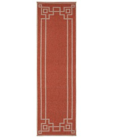 "Alfresco ALF-9631 Rust 2'3"" x 11'9"" Runner Area Rug, Indoor/Outdoor"