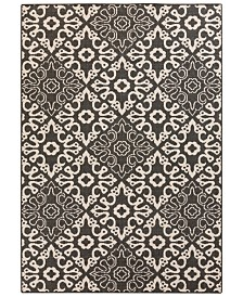 "Surya Alfresco ALF-9637 Black 7'6"" x 10'9"" Area Rug, Indoor/Outdoor"