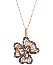 "Diamond Flower 20"" Pendant Necklace (1-1/2 ct. t.w.) in 14k Rose Gold"