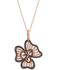 "Le Vian® Diamond Flower 20"" Pendant Necklace (1-1/2 ct. t.w.) in 14k Rose Gold"