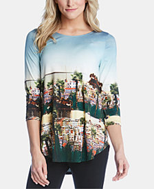 Karen Kane Scenic-Print High-Low Top