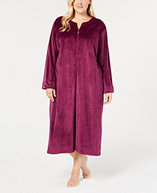 Miss Elaine Plus Size Velvet Fleece Long Zip Robe