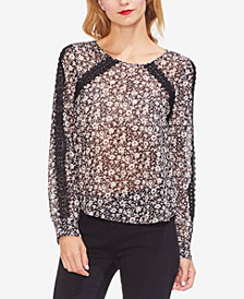 Vince Camuto Printed Lace-Trim Top