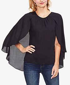 Vince Camuto Gathered-Neck Cape-Overlay Top