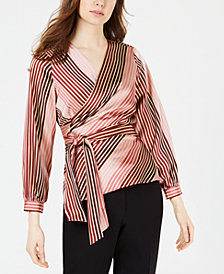 Vince Camuto Striped Wrap Top