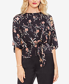 Vince Camuto Tie-Front Floral Top