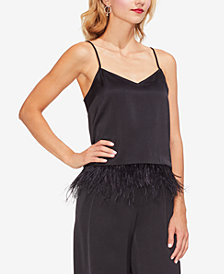 Vince Camuto Feather-Hem Satin Camisole