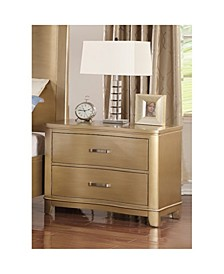 Pine Wood Night Stand With Two Drawers, Gold