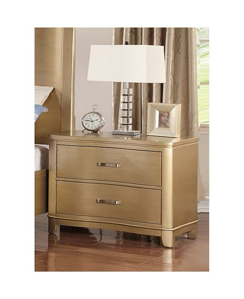Benzara Pine Wood Night Stand With Two Drawers, Gold