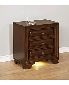 Wooden Night Stand With 3 Drawers, Cherry Brown
