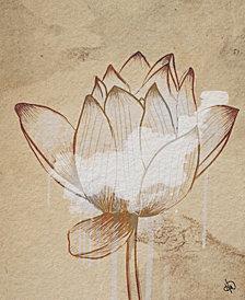 "Sacred Lotus Flower Drawing 24"" X 36"" Canvas Wall Art Print"