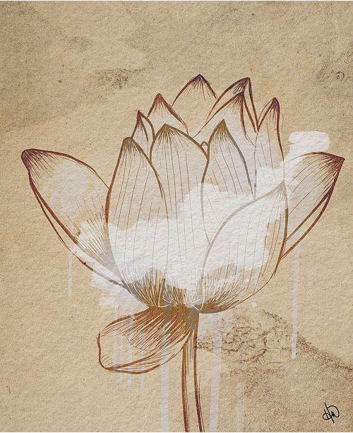 "Creative Gallery Sacred Lotus Flower Drawing 24"" X 36"" Canvas Wall Art Print"