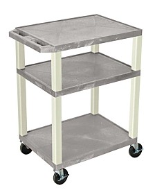 Offex OF-WT34GE-P - Multipurpose Utility A/V Cart 3 Shelves - Putty Legs