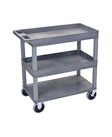 "Offex Multipurpose 32"" x 18"" Two Tub/One Flat Shelves Utility Cart - Gray"