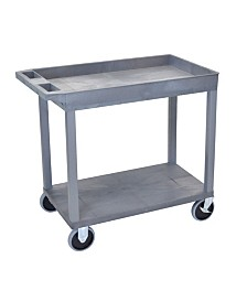 "Clickhere2shop 32"" x 18"" Heavy-Duty Utility Cart with One Tub/One Flat Shelf - Gray"