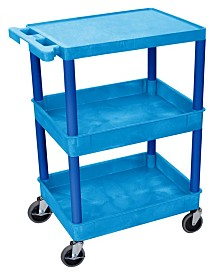 Offex Flat Top and Tub Middle/Bottom Shelf Service Cart - Blue